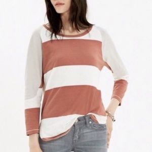 Striped Madewell Rugby Tee with 3/4 Sleeves